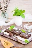 Части домодельных пирожных шоколада с листьями мяты Стоковые Фото