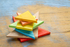 Части деревянной головоломки tangram Стоковое Изображение RF
