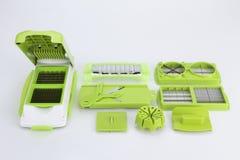 Части и комплект slicer или dicer еды вырезывания точности зеленого цвета нержавеющей стали современных для плодоовощ, сыра, овощ Стоковые Изображения
