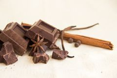 Части и специи шоколада Стоковые Фото