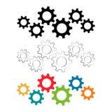 Части машинного оборудования шестерней установленные в другие цвета Стоковое Изображение