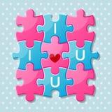 Части мозаики с словами я тебя люблю Стоковая Фотография RF