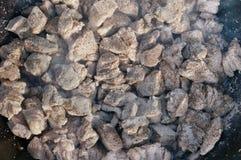 Части мяса свинины обильно взбрызнуты с солью и peppe стоковое изображение