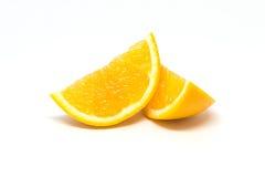 2 части отрезанного изолированного апельсина Стоковое Изображение