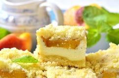 Части пирога персика с творогом Стоковые Фотографии RF