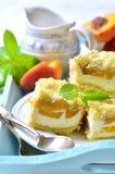 Части пирога персика с творогом Стоковое Фото