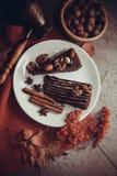 Части пирога пирожного с гайками Стоковое Фото