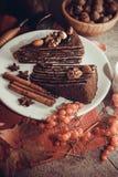 Части пирога пирожного с гайками Стоковые Изображения
