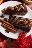 Части пирога пирожного с гайками Стоковое Изображение RF