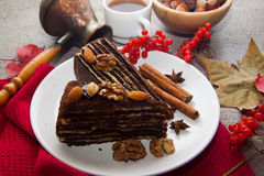 Части пирога пирожного с гайками Стоковое фото RF