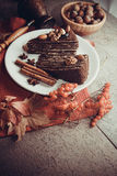 Части пирога пирожного с гайками Стоковая Фотография RF