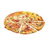 Части пиццы акварели Стоковое Изображение