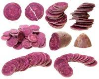 части свежего фиолетового сладкого картофеля изолированного на белой предпосылке Стоковые Фото