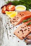 Части свежего salmon филе Стоковая Фотография