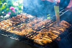Части свинины на гриле Стоковые Фото