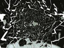 Части сломленного или разрушенного черного изолированного стекла Стоковая Фотография