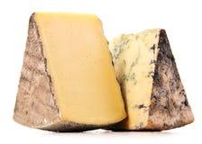 2 части сыра изолированной в белой предпосылке Стоковые Фотографии RF