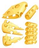 Части сыра изолированные на белизне Популярный вид изолированных значков сыра Типы сыра Illust современного плоского стиля реалис Стоковые Изображения RF
