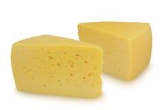 2 части сыра изолированной на белой предпосылке Стоковые Фотографии RF
