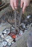 Части топления стальные на месте огня кузнецов Стоковые Фото
