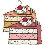 2 части тортов плодоовощ Стоковые Изображения
