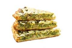 3 части традиционного греческого пирога шпината с козий сыром Стоковые Фотографии RF