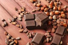 Части, фундуки и бобы кака шоколада стоковые изображения