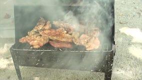 Части цыпленка варя на гриле сток-видео