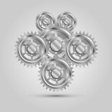 Части шестерни металла механически, машина двигателя Стоковые Фото