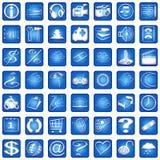 части 2 квадрат голубой икон установленный Стоковое Фото
