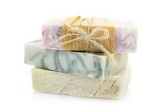 3 части handmade мыла изолированной на белизне Стоковые Изображения