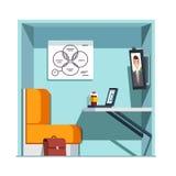 Частная комната будочки видеоконференции с монитором Стоковые Изображения