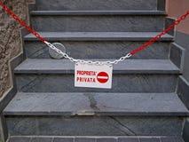 Частная собственность, отсутствие входа, Италии В ИТАЛЬЯНКЕ Стоковое фото RF