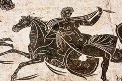 Частность римской мозаики в термальных ваннах Нептуна в Стоковое фото RF