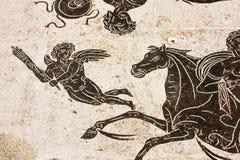 Частность римской мозаики в термальных ваннах Нептуна в Стоковые Фото