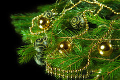 Частность рождественской елки с украшениями Стоковые Изображения
