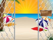 Частный вход пляжа с связанной проволокой загородкой иллюстрация штока
