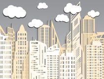 Часть абстрактного города сделанная из бумаги Стоковая Фотография
