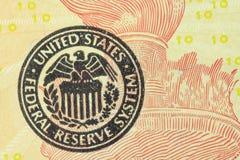 Часть американских счетов 10 долларов предпосылки Стоковая Фотография RF