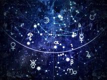 Часть астрономического небесного атласа ( grunge винтажное remake) иллюстрация вектора