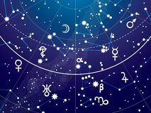 Часть астрономического небесного атласа иллюстрация вектора