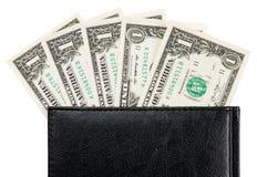 Часть банкнот тетради и доллара офиса Стоковое Фото