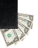Часть банкнот тетради и доллара офиса Стоковое Изображение RF
