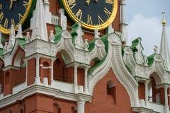 Часть башни Spasskaya Москвы Кремля Стоковые Фото