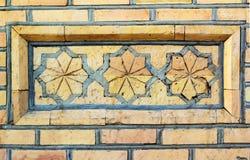 Часть большого орнамента кирпичной кладки в старом восточном стиле стоковое фото rf