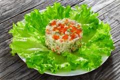 Часть более olivier салата с прерванными соленьями, сосисками и vege стоковые фотографии rf