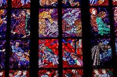 Часть витража в соборе St Vitus Стоковая Фотография RF