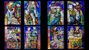 Часть витража в соборе St Vitus Стоковое фото RF