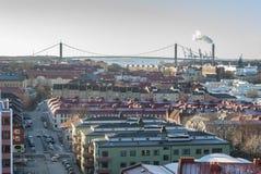 Часть города в зиме Стоковые Изображения