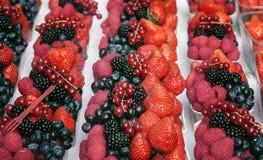 Часть десерта зрелых ягод: поленики, клубники, голубики Стоковые Фото